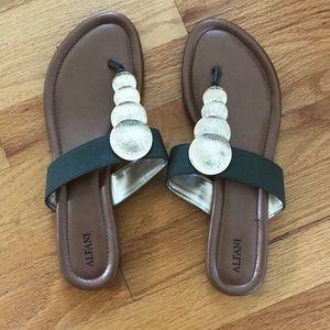 Alfani Green and Gold Thong Sandals